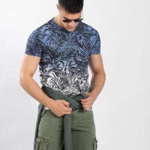 Мъжка синя тениска с преливане Leaves мотив