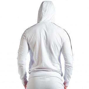 Бял мъжки суичър с ленти 2