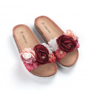 Червени дамски чехли флорален дизайн  2