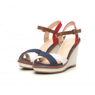 Дамски сандали в синьо, бяло и червено 2