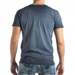 Мъжка тениска Vintage стил в синьо  2