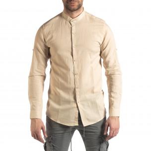 Мъжка риза от лен и памук в бежово 2