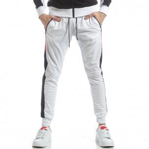 Бяло мъжко долнище с ленти  2