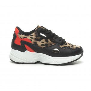Дамски маратонки червено и леопард с дебела подметка