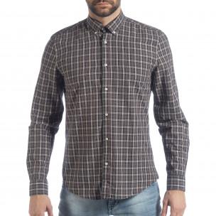 Мъжка карирана риза Slim fit Casual