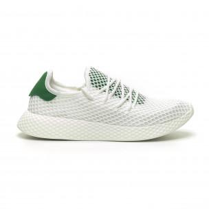 Бели мъжки маратонки Mesh зелена пета