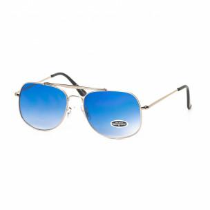 Сини опушени слънчеви очила сребриста рамка