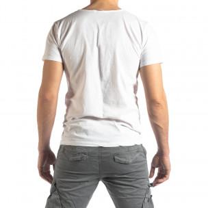 Мъжка тениска Vintage стил в бяло  2