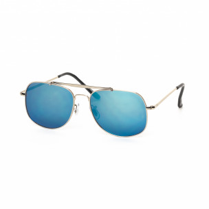 Сини огледални слънчеви очила сребриста рамка