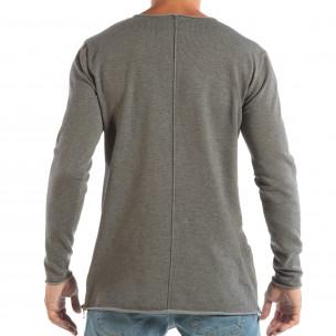 Сива мъжка блуза от плетена материя с ципове 2