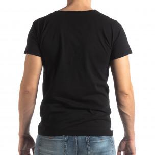 Мъжка тениска Vintage стил в черно  2