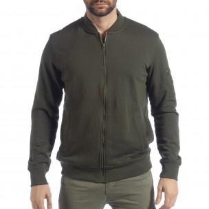 Мъжки зелен суичър CROPP с джоб на ръкава