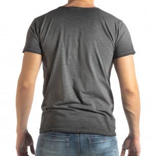Мъжка тениска Vintage стил в сиво 2