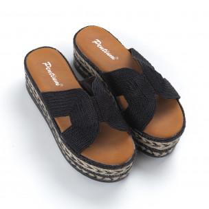 Дамски плетени чехли в черно равна платформа  2