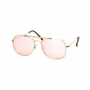 Розови огледални слънчеви очила златиста рамка