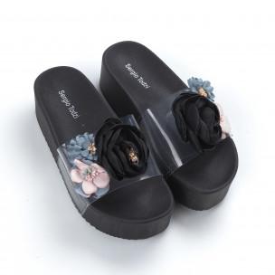 Дамски черни чехли с прозрачна ивица  2