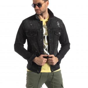 Мъжко еластично дънково яке в черно