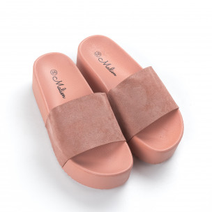 Розови дамски чехли на платформа  2