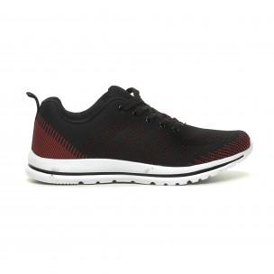 Плетени меки мъжки маратонки в черно-червено