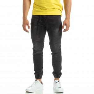 Мъжки черни рокерски дънки тип Jogger  2