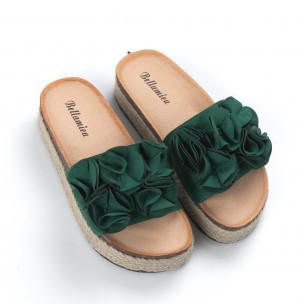 Дамски зелени чехли с конопен кант 2