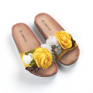 Жълти дамски чехли флорален дизайн  2