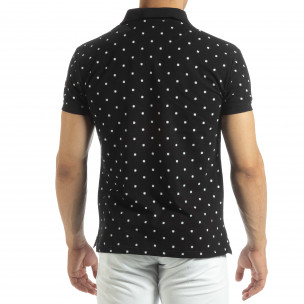 Мъжки черен polo shirt Clover мотив 2