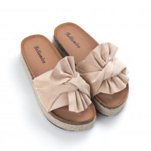 Бежови дамски чехли с конопен кант 2