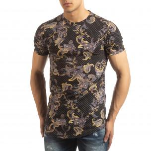 Черна мъжка тениска кашмирен дизайн 2
