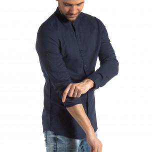 Мъжка риза от лен и памук в тъмно синьо