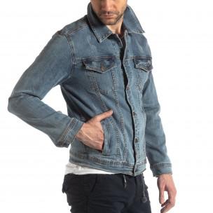 Мъжко еластично дънково яке в синьо