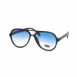 Опушени сини пилотски очила плътна рамка