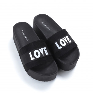 Дамски черни чехли Love на платформа   2