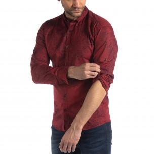 Slim fit мъжка риза Vintage десен в бордо  2