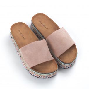 Розови дамски чехли декорирана платформа 2