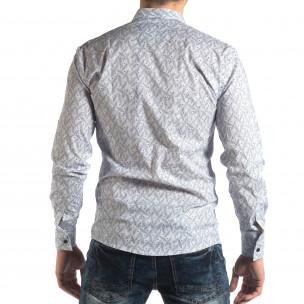 Мъжка Slim fit риза с бял десен  2