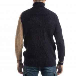 Мъжки пуловер в синьо и бежово  2