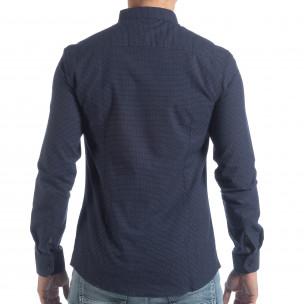 Slim fit мъжка синя риза на точици  2