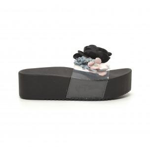 Дамски черни чехли с прозрачна ивица