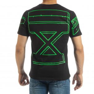 Черна мъжка тениска зелен принт на гърба  2