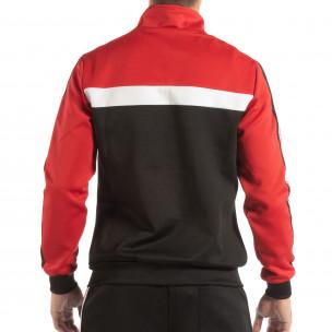Мъжки черен суичър с кант 5 striped с червено 2