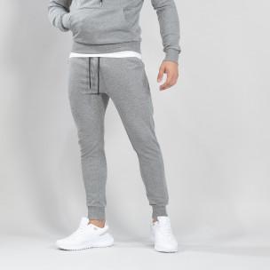 Basic мъжко памучно долнище в сиво