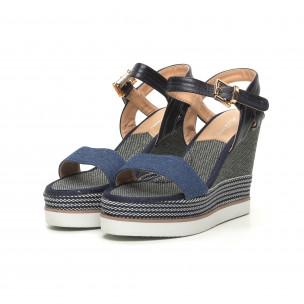 Сини дамски сандали на висока платформа  2