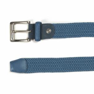 Мъжки плетен колан в синьо