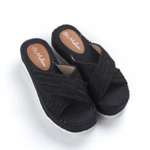 Плетени дамски чехли в черно  2