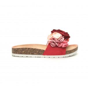 Червени дамски чехли флорален дизайн