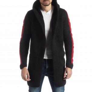 Черна плетена мъжка жилетка с кантове