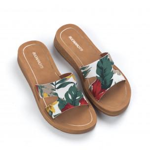 Дамски чехли с флорален десен 2
