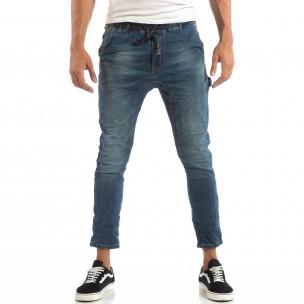 Сини мъжки дънки с ластик на кръста  2