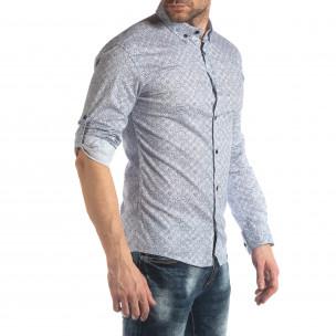 Slim fit мъжка риза с флорален десен в бяло  2
